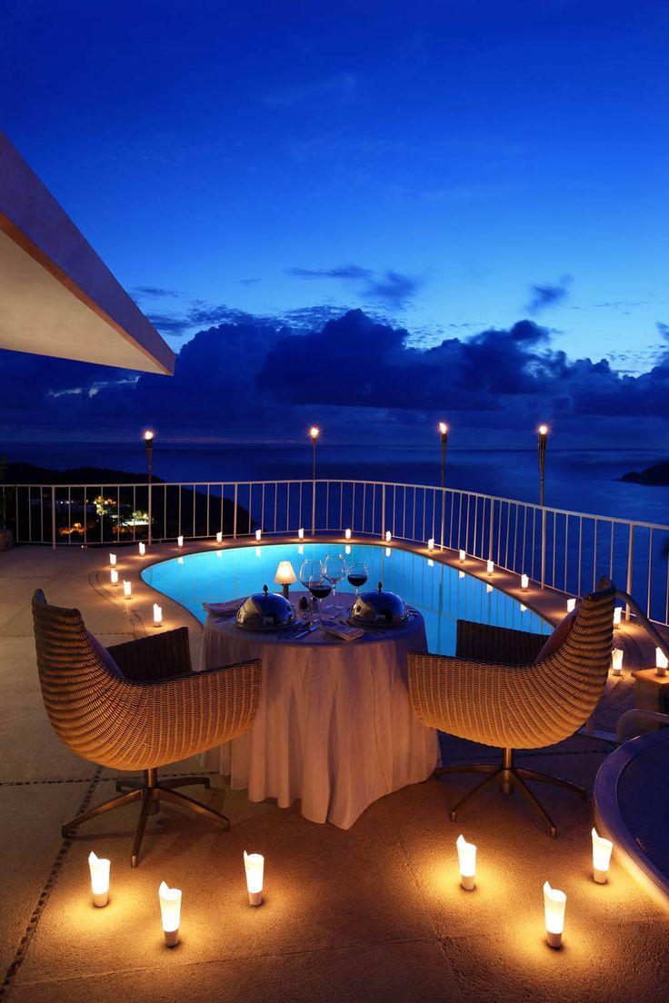 Romantic Dining Setup at Las Brisas Acapulco Hotel, Mexico