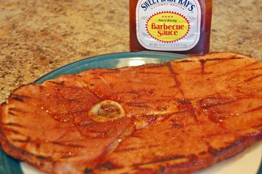 BBQ Ham Steak on the Grill - Quick summer meal!