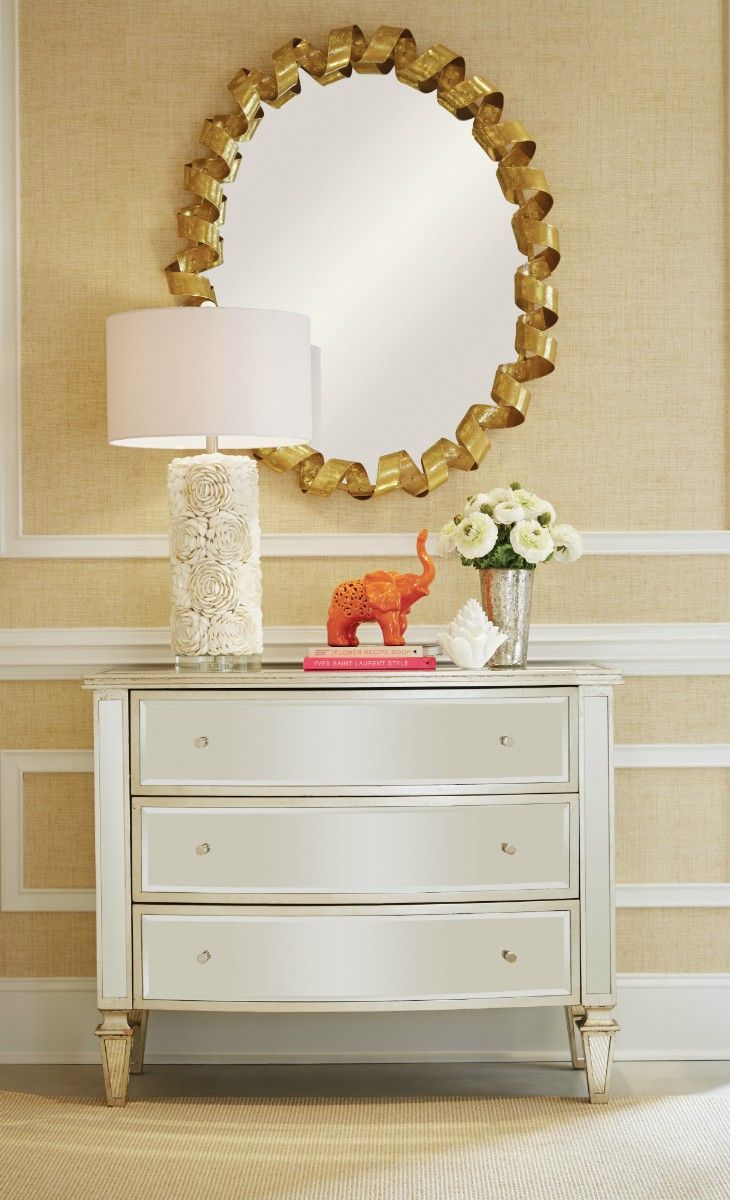 gold coil trimmed mirror
