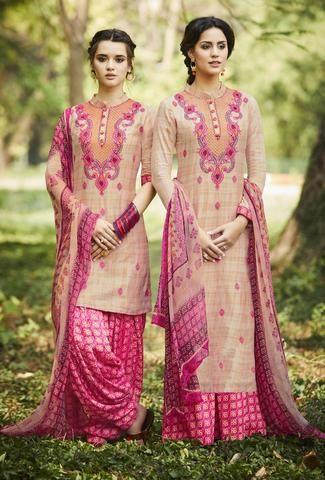 Pink And Cream Designer Punjabi  Suit
