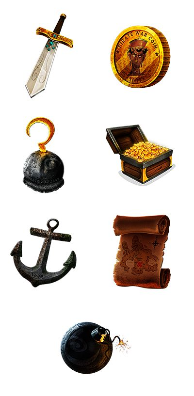 Pirate Treasure (Slot Game) on Behance (animated gifs)