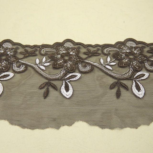 11 cm de largura marrom gaze bordado guarnição do laço de costura/acessórios de vestuário tecido de renda