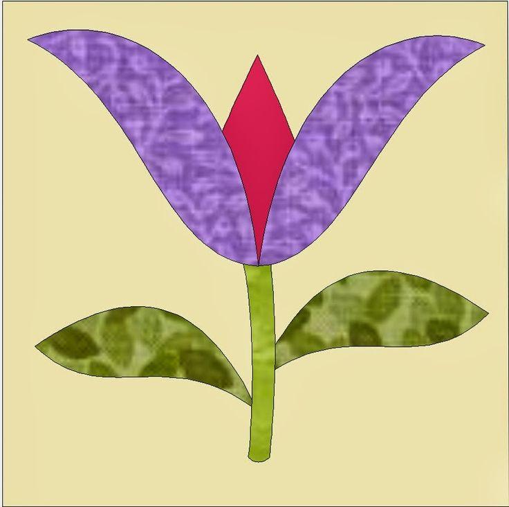 Patchwork en Casa - Patchwork with Love: Bloque de la Semana: Aplicación Tulipán