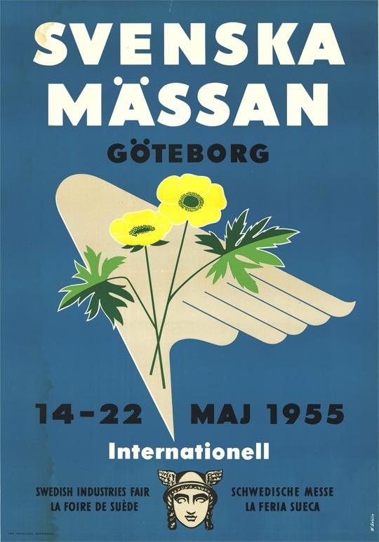 Den 14-22 maj 1955 arrangeras den internationella vårmässan på Svenska Mässan. Affischen är formgiven/illustrerad av W. Sahlin. Poster from the international trade fair in May 1955.