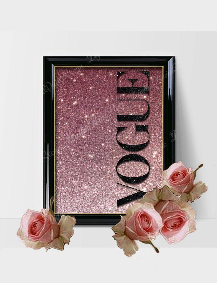 Vogue Glitter Gold Green Print, Vogue Logo, Vogue Brand, Vogue Fashion by DigitalPrintStore on #Etsy #gift #vogue