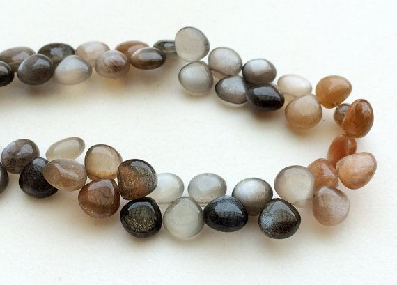 Multi Moonstone Plain Heart Beads Sunshine Multi by gemsforjewels