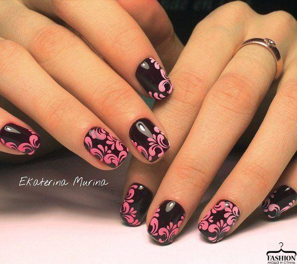 Beautiful nails, Black and pink nails, Bright gel polish, Bright gel polish for nails, Festive nails, Medium nails, Mysterious nails, Nails trends 2016