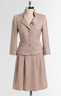 Boucle Skirt Suit.  Business Formal.