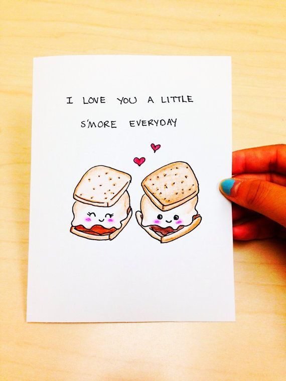 Funny love card, cute anniversary card, cute love card, I love you a little s'more everyday, funny anniversary card, hand drawn card by LoveNCreativity