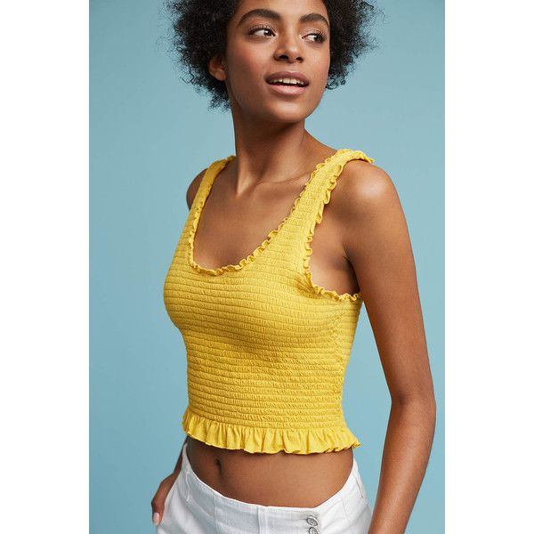 Floreat Ruffled Crop Tank ($48) ❤ liked on Polyvore featuring tops, yellow, ruffle tank top, summer tank tops, off shoulder crop top, blue tank top and off-the-shoulder ruffle tops