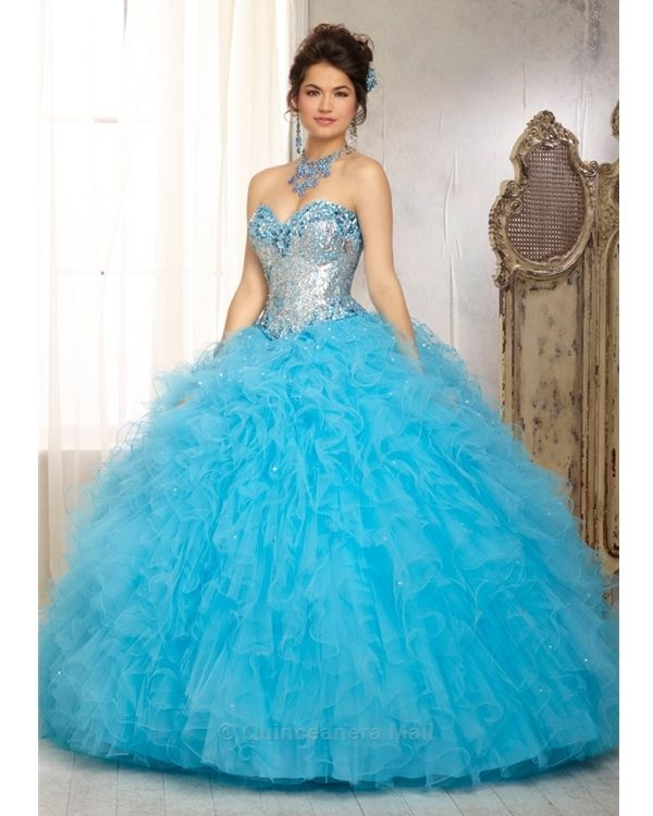 Dazzling Beaded Bodice On Flounced Tulle And Organza Ball: 55 Best Images About Blue Quinceanera Dresses On Pinterest
