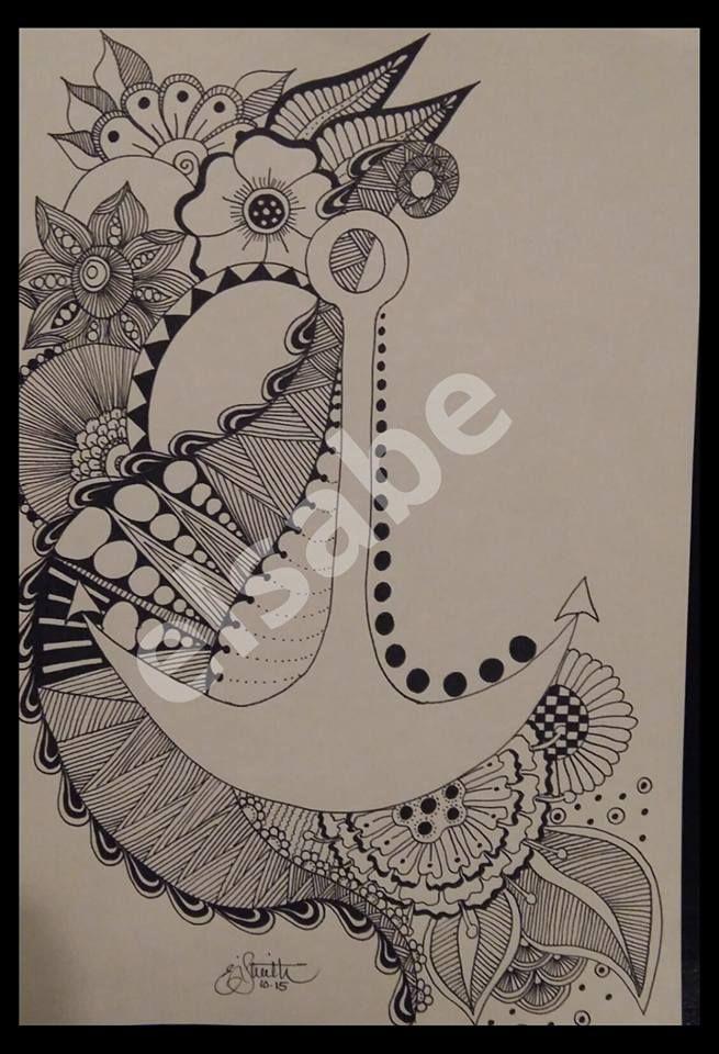 Anchor zentangle art