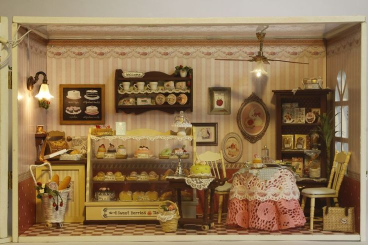 Wooden Dollhouse Miniatures DIY House Kit w/Led Light bakery Cafe Coffee Shop #handcrafted