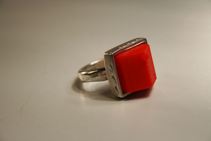 """living the dream "" vintage plastic monopoly piece , fabricated sterling silver ring"