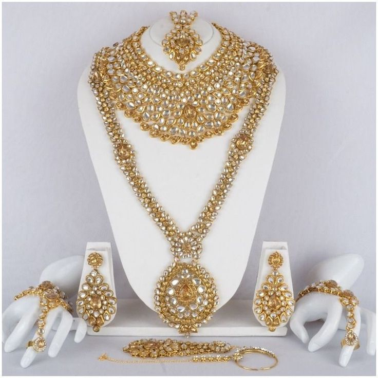 Indian Bollywood Bridal Designer Necklace Earring Kundan Fashion Jewelry Set #Handmade
