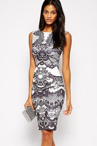 Contrast Lace Print Midi Dress
