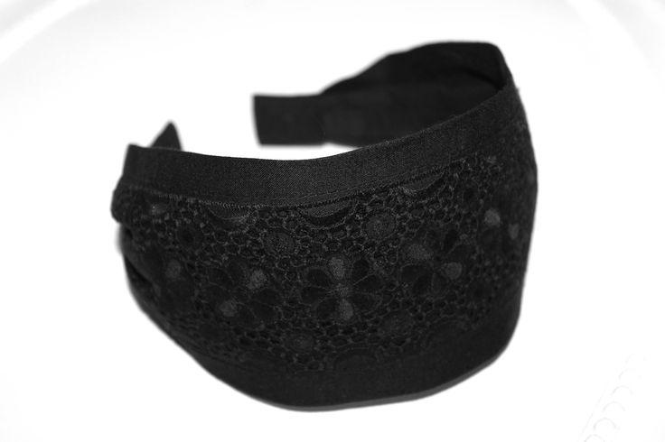 Eyelet Lace Headband Black Hairband English Embroidery Cotton hair scarf headbands for women adult head band no slip headband Gifts for mom di HeadBandsDeLuxe su Etsy