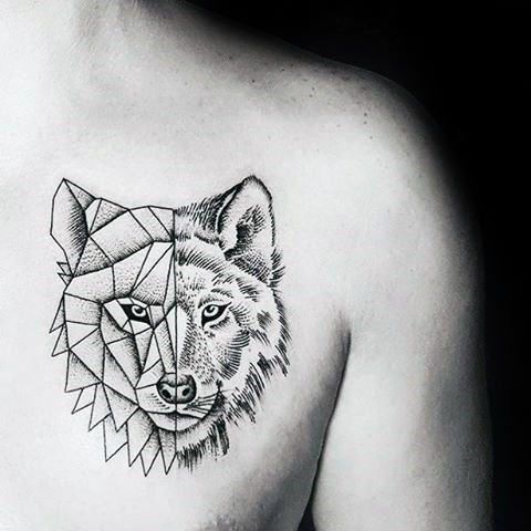 Wolf With Half Geometric Design Minimalist Guys Chest Tattoos