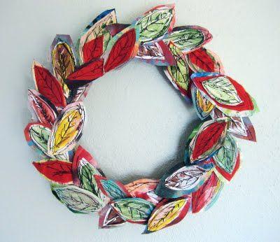 Fabric leaf wreath DIY