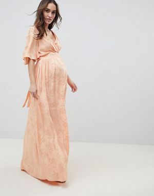 d8d04500fe9f0 Maternity Soft Jacquard Maxi Dress With Flutter Sleeve | ASOS | My ...