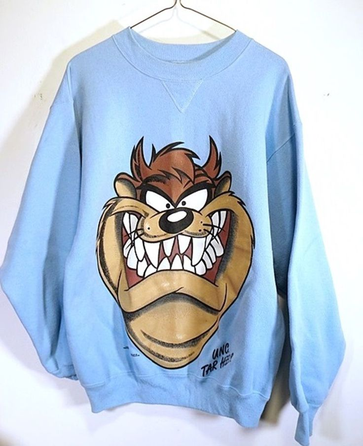 TAZ Light Blue Sweatshirt Cartoon Mens Large Long Sleeve Crewneck Looney Tunes #Hanes #SweatshirtCrew