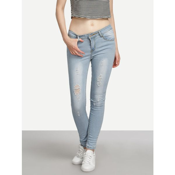 SheIn(sheinside) Blue Ripped Skinny Jeans ($14) ❤ liked on Polyvore featuring jeans, blue, white distressed jeans, white skinny jeans, distressed jeans, super skinny jeans and ripped denim jeans