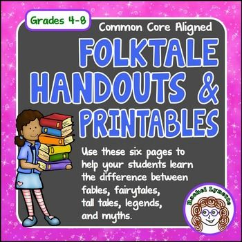 Folktales: Fairytales, Fables, Tall Tales, Legends & MythsWhat exactly is the difference between a myth and a legend? Find out with these worksheets and handouts. This resource clearly defines the five most common folktale subgenres: fables, fairy tales, tall tales, legends, and myths and gives students opportunities to apply what they have learned.