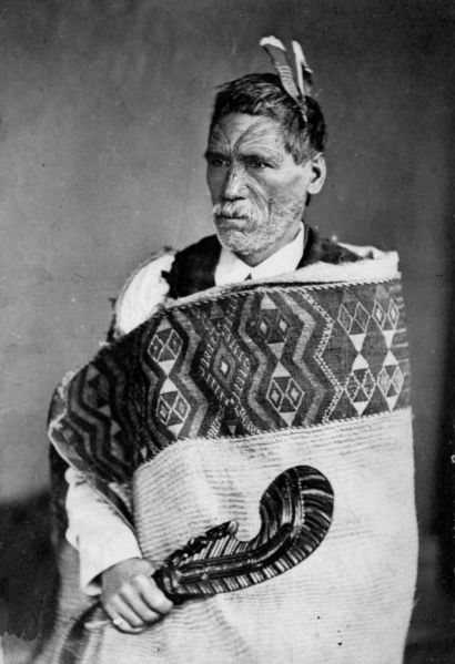 Tā moko <>   A photograph of Rewi Manga Maniapoto  Taken by Elizabeth Pulman in June 1879  Source  Alexander Turnbull Library Reference No. PA2-1359  Author  Pulman, E (Auckland)