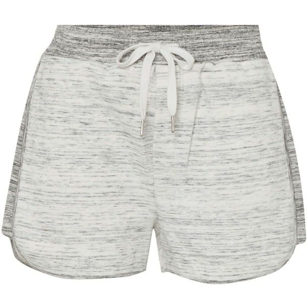 Calvin Klein Faelyn double knit shorts ($94) ❤ liked on Polyvore featuring shorts, light grey, women, calvin klein shorts and calvin klein