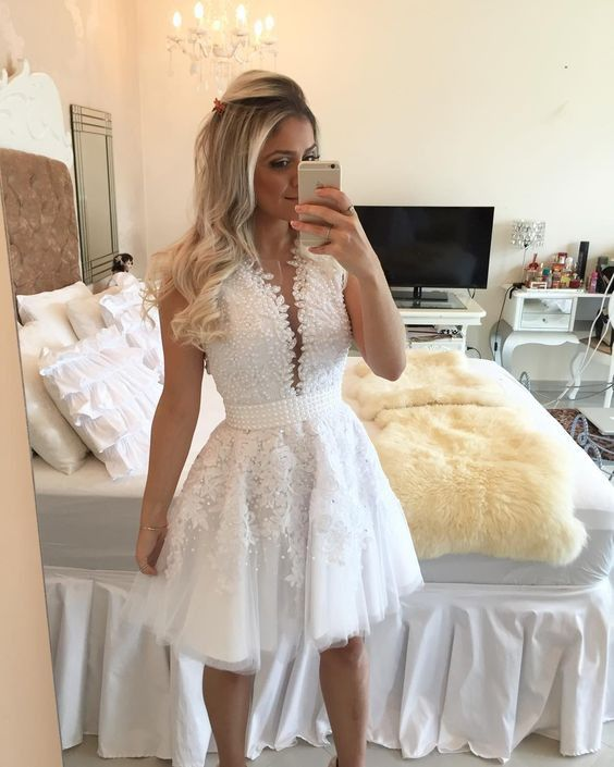A-line Hot-selling Deep V-Neck White Lace Short Homecoming Dresses