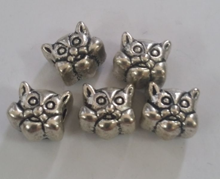 5 Cat Heads Large 5 mm Hole  Beads fit European Jewelry - Only 5 available 65 by Adawnstyle on Etsy