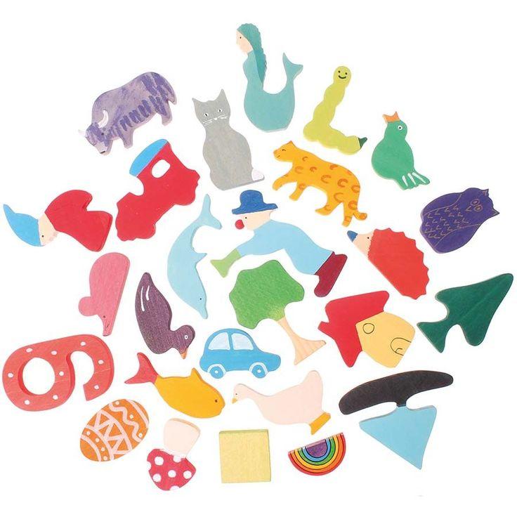 26 bunte Lernfiguren für das deutsche Alphabet zum Lernen der Buchstaben, zur Sprachförderung und in der Therapie. Ab 1 Jahr. Ausschließlich schadstofffreie Farben und Öle auf Basis von FSC- zertifiziertem Holz.