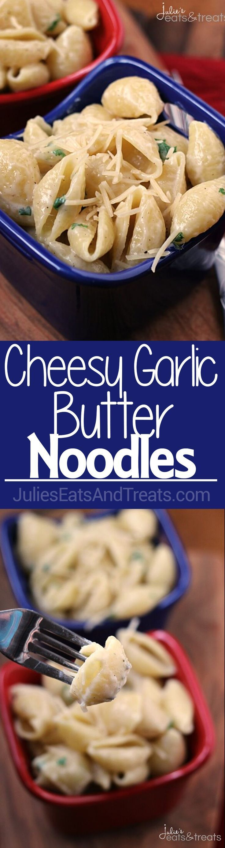 Cheesy Garlic Butter Noodles ~ Quick and Easy Side Dish for a Busy Night! Pasta Loaded with Garlic, Butter & Cheese! via /julieseats/