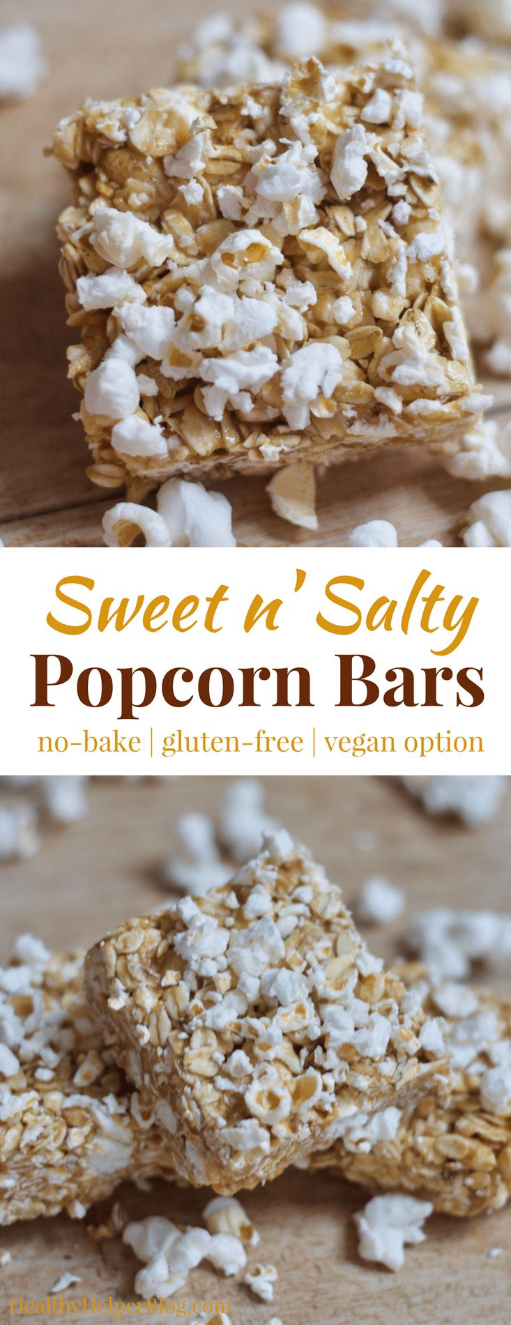 Sweet n' Salty Honey PB Popcorn Bars   Healthy Helper @Healthy_Helper The sweet n' salty snack bar of your dreams is here! These Honey Peanut Butter Popcorn bars are sure to delight any tastebuds. No baking required, gluten-free, and easily made vegan, too!