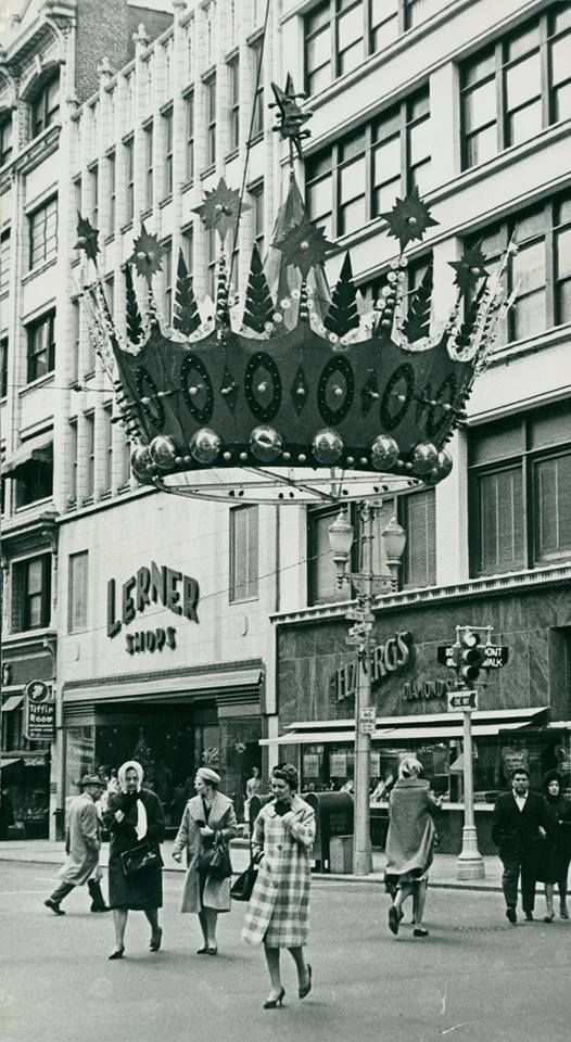 1963 Downtown Kansas City, Missouri. These crowns now have new life, adorning Zona Rosa in the northland during the Christmas season. Visit us on Facebook at https://www.facebook.com/KansasCityMissouriLife/