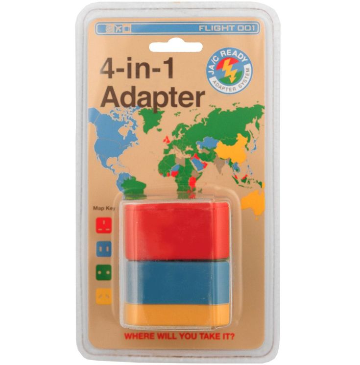 4 plugs, 1 adapter, 150 countries! The Flight 001 4-in-1 Adapter is a set of color-coded plugs that allows you to easily adapt to over 150 countries. This is the first product utilizing the JA/C READY