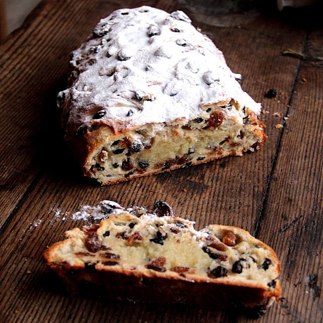 Kerststol, or Christmas stollen, is an enriched yeast dough stuffed with raisins and currents and filled with a core of almond paste.