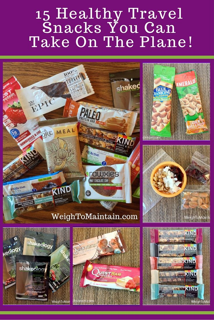 Traveling by plane?  You can still stick to your diet when you bring your own healthy snacks.  Check out these 15 healthy travel snacks:  water, nuts, seeds, fruit, veggies, snack bars, protein bars, protein powder, trail mix, fresh food options (check out airport stands and restaurants), dark chocolate and more!  See article at WeighToMaintain.com