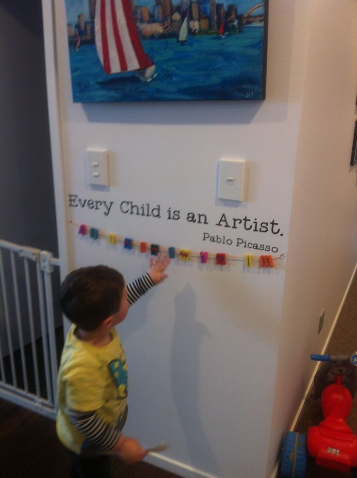 Space to hang kids art and certificates. Inspired by pinterest