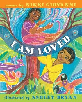 These are signs of another heart holding you in affection.  You may encounter them every day from family or friends or when seemingly lost and alone, a stranger will send one of them to you.  I AM LOVED: a poetry collection (A Caitlyn Dlouhy Book, Atheneum Books for Young Readers, an imprint of Simon & Schuster Children's Publishing Division, January 9, 2018) with poems written by Nikki Giovanni and illustrations by Ashley Bryan are selections declaring an eternal truth.