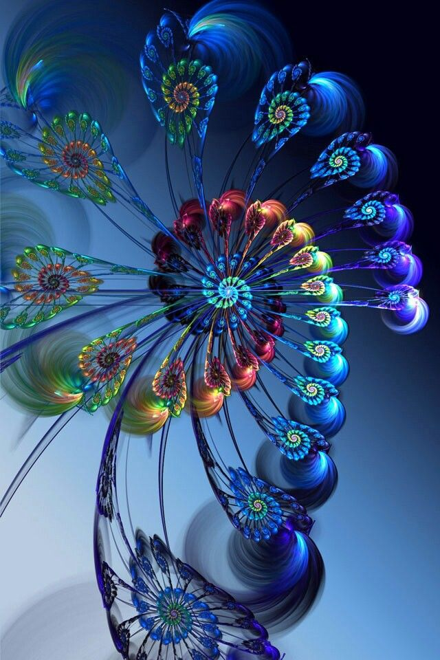 Blue and rainbow fractal - #arco iris #colores #colors