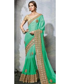 Solid Green And Beige Chiffon Saree.