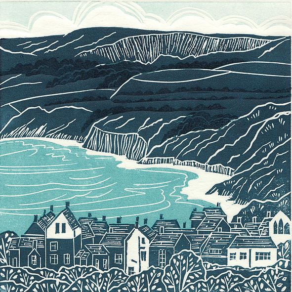 Robin Hoods Bay, linocut print