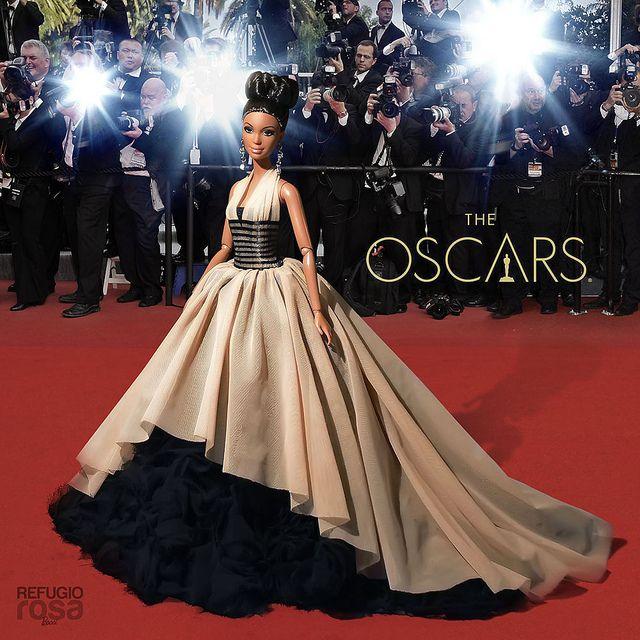Alma ya pasea por la alfombra roja de los Oscars 2014, con vestido exclusivo para esta noche del Refugio Rosa. (Alma walks the red carpet at the Oscars 2014 with exclusive dress for tonight by Refugio Rosa.