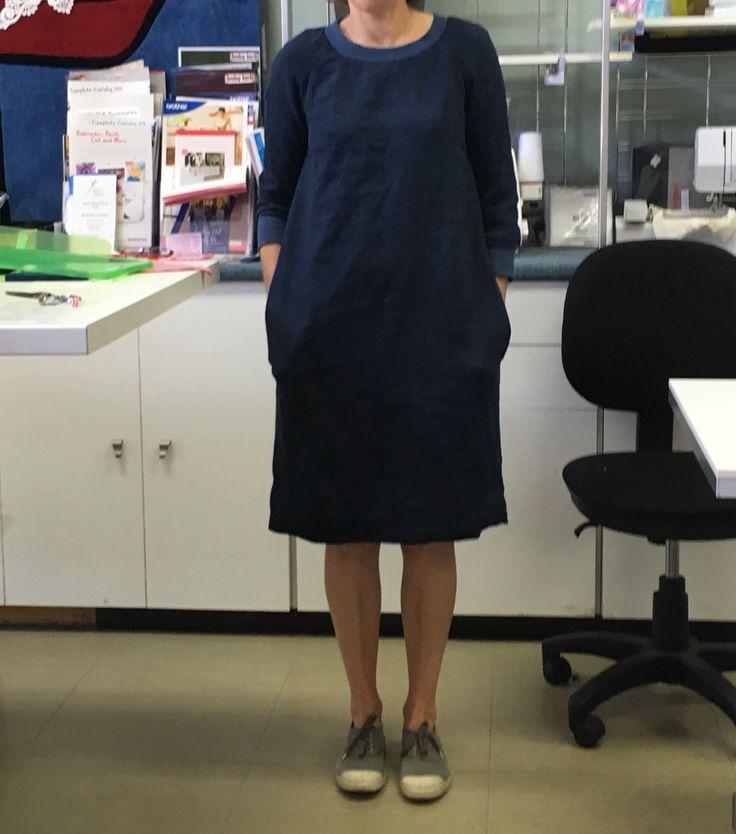 Jane's gorgeous dress finished. Love that Fielder pattern in Merchant & Mills