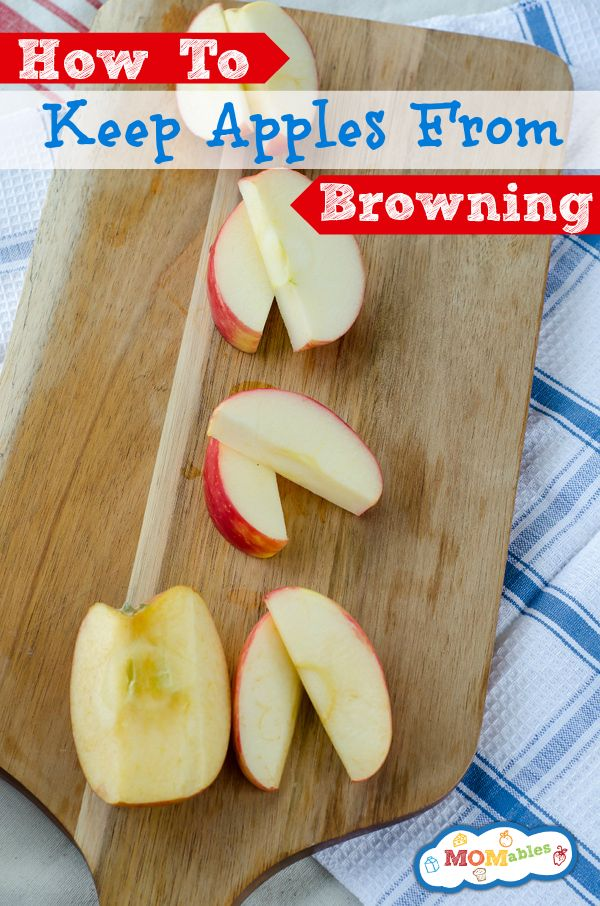 How To Keep Apples From Browning MOMables.com Site shows how to keep cut apples for a week using all natural preservatives and does a visual comparison between lemon juice, powdered citric acid and what happens to untreated apples.