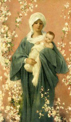 Virgen de la primavera.  Virgen de las Flores. Festividad 8 de septiembre. Sucedió en la ciudad de Bra, en la provincia de Cúneo, en la diócesis de Turín, en la tarde del 29 de Diciembre de 1336.