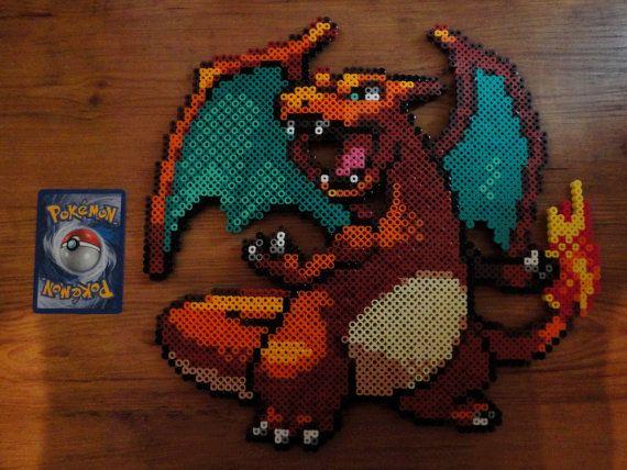 Charizard Pokemon Perler Bead Sprite by PokePerlers on Etsy, $30.00