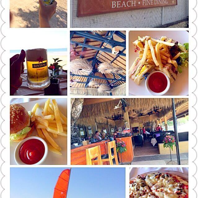 近くのウォーターパークへちょいと遊びに行ったけどフードコートが見当たらないなのでちょこっと遊んでビーチへ近くのCafeへ来て見たら満席も、すぐ海側の席に通して貰ってラッキー 出てくるのとぉってものんびりw 腹ペコチビ〜もハンバーガー片手にピザにクラブハウスサンドもつまみ食い 美味しかったです - 42件のもぐもぐ - Lunch遅めのランチ by Ami