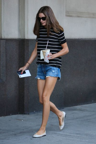 stripes + denim shorts